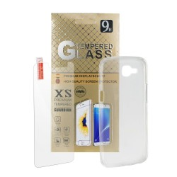 Silicone Case + 9H Tempered Glass Protector - Galaxy A3 2017