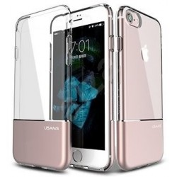 Funda de silicona + Proteccion de Alumino USAMS Iphone 7 - Transparente - Rosa