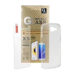 Funda de Silicona + Protector de Cristal templado 9H - Iphone 5 / 5S / SE - Transparente