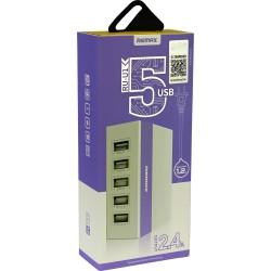 Cargador de Red universal Remax RU-U1 - 5 Puertos USB  2.4 A max - Rosa - Blister