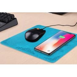 Alfombrilla Ratón con Base de Carga Inalámbrica QI para Samsung Galaxy S8, Note 8, iPhone X etc. Negro