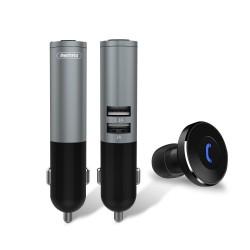 Auricular Bluetooth + Cargador de Coche -  2 x USB 2.1A max - REMAX RB-T11C - NEGRO