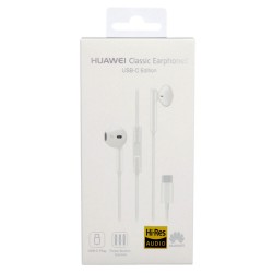 Auriculares Manos Libres Original Huawei CM33 USB Tipo C para Mate 10, Mate 20, P20, In-ear - Blanco - Blister