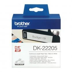 Brother DK22205 Etiquetas de Cinta Continua de papel termico adhesivo  62mm x 30,5 m - Blanco
