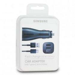 Cargador Coche Original Samsung EP-LN920BB Dual USB-C - Carga Rápida para S8, S9, Note 8, A8, A9, Negro, Blister