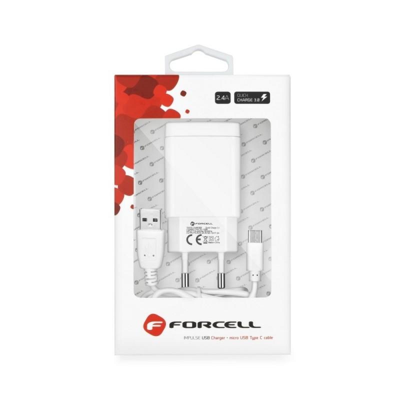 Cargador red Forcell USB Tipo C  2,4A  funcion Carga Rapida Quick Charge 3.0