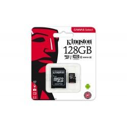 Tarjeta de memoria Kingston Canvas Select microSDXC de 128GB + adaptador SD con hasta 80 MB/s y Class 10